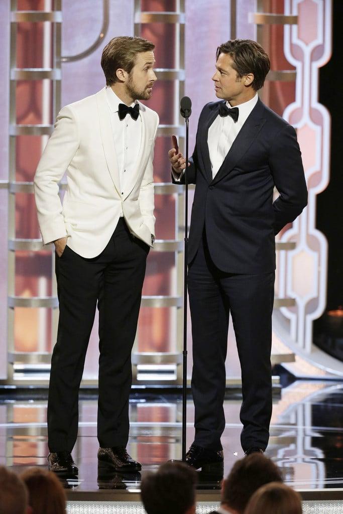 Ryan Gosling e Brad Pitt Protagonistas de um dos momentos mais engraçados da noite, essa dupla também merece aplausos pelos seus visuais. Branco pode sim ser elegante, basta que o seu corte esteja como esse, impecável. E Brad, com sua lapela em ponta (peak), foi outro que mostrou que a simplicidade e o minimalismo são escolhas seguras e de muito bom gosto.