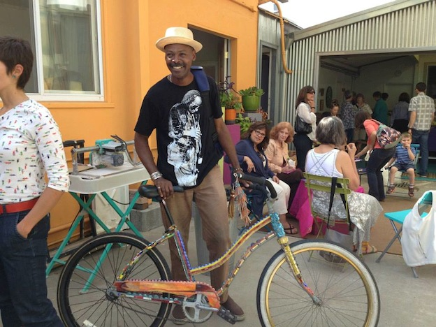 Daud Abdulla showing off his cool mosaic bike