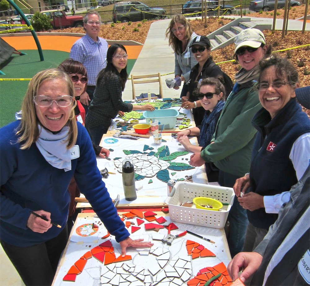 Participants create mosaics for Balboa Park with Rachel Rodi