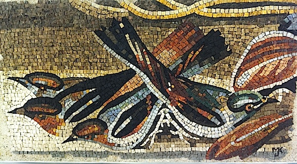 "One of many of Michael's works in the classical style - using matte materials, ungrouted. "" My mosaic voice is always developing and I do not seek to confine myself to one style."""