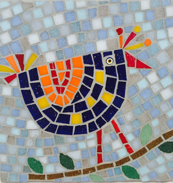 A whimsical midcentury bird in vitreous tile by Debbie Block.