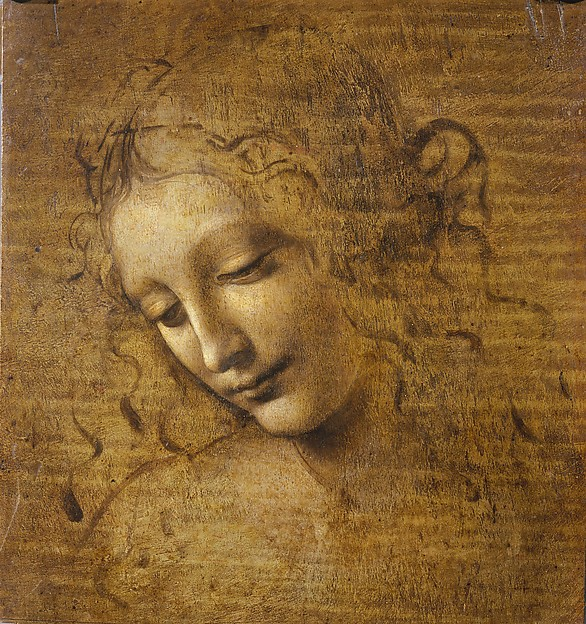 Head of a Woman  ( La Scapigliata , c. 1508), oil on wood,   Leonardo da Vinci