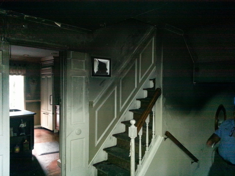 Fire and smoke damaged interior before restoration by Groundswell Contracting