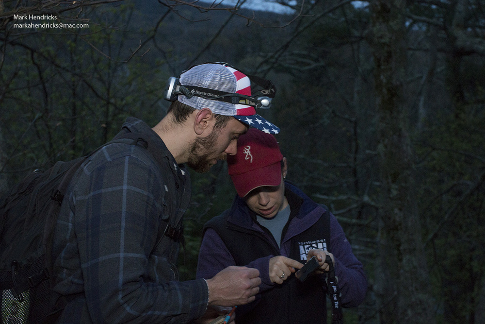 A USGS researcher trains a new staff member in Shenandoah National Park on how to mark coordinates of the Shenandoah Salamanders found on a night survey using GPS technology