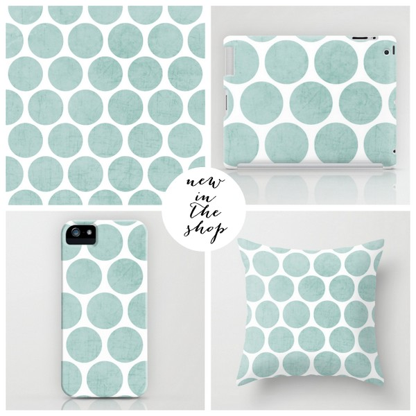 robins egg blue polka dots