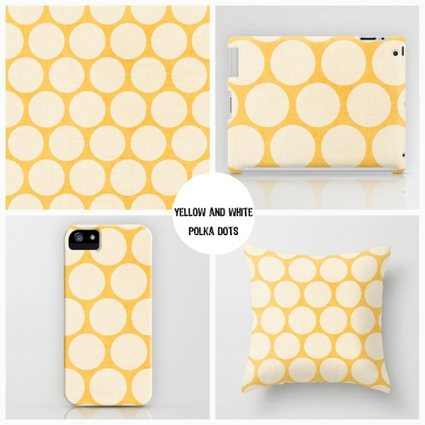 yellow and white polka dots