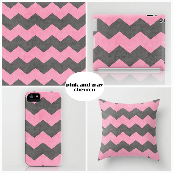 chevron - pink and gray