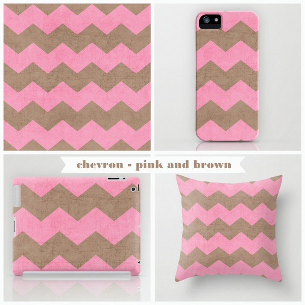 chevron - pink and brown