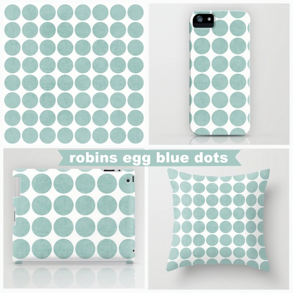 robins egg blue dots