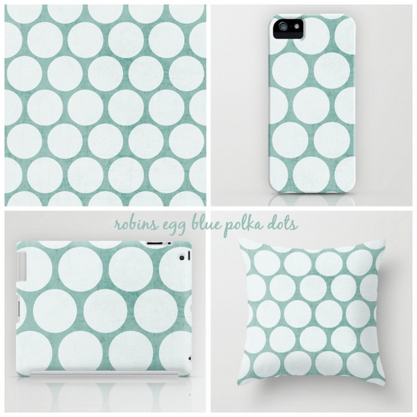 robins egg blue and white polka dots