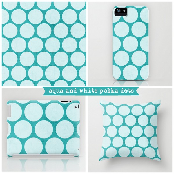 aqua and white polka dots