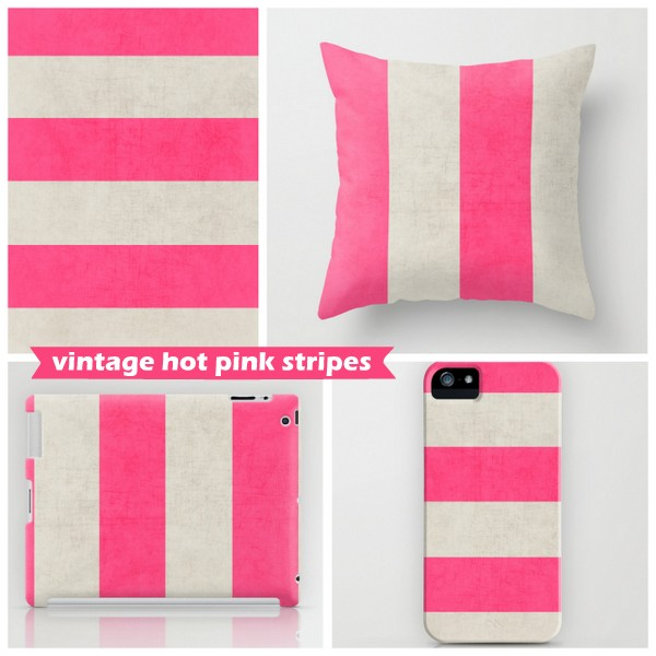 vintage hot pink stripes