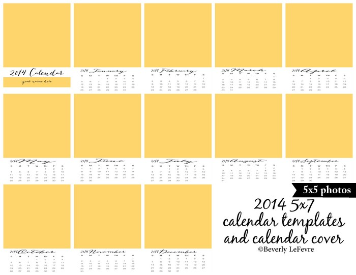 2014 5x7 calendar templates and calendar cover