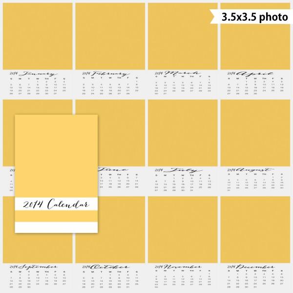 2014 3.5x5 calendar template