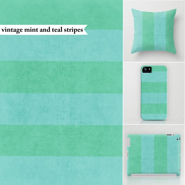 vintage mint and teal stripes