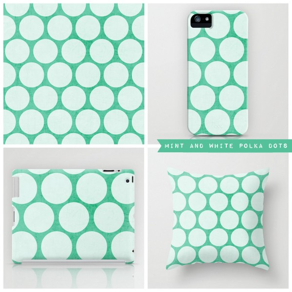 mint and white polka dots