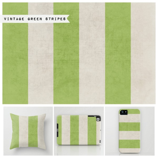 vintage green stripes