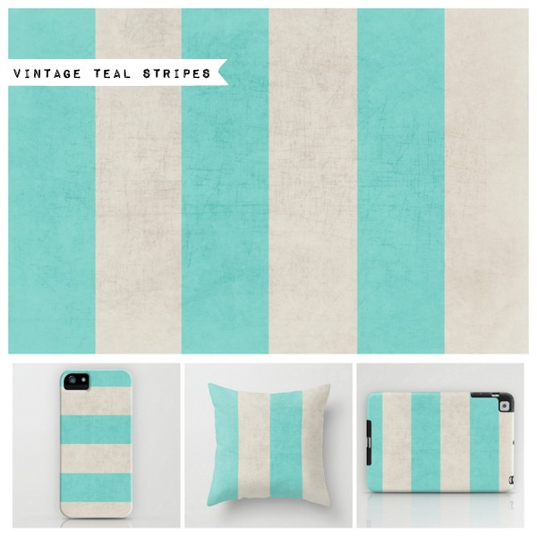 vintage teal stripes