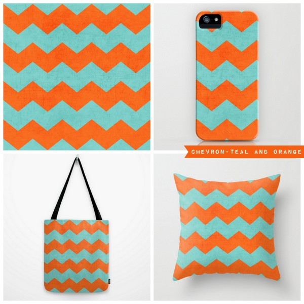 chevron- teal and orange