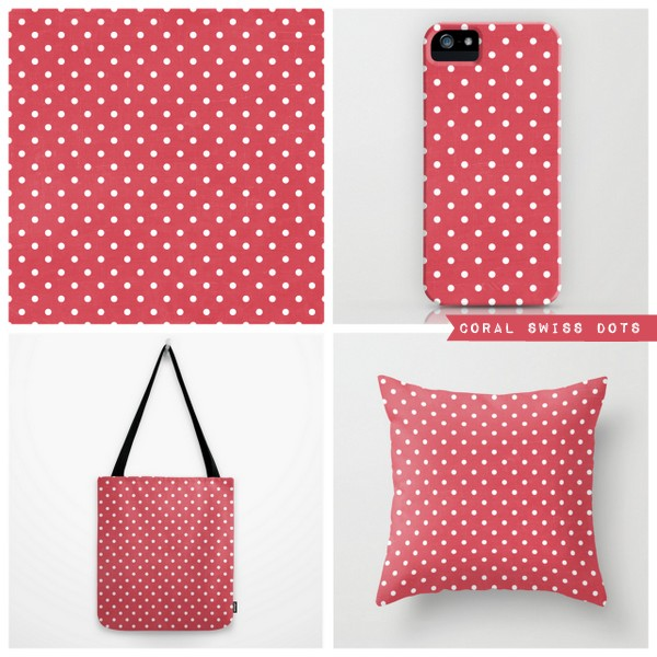 coral swiss dots