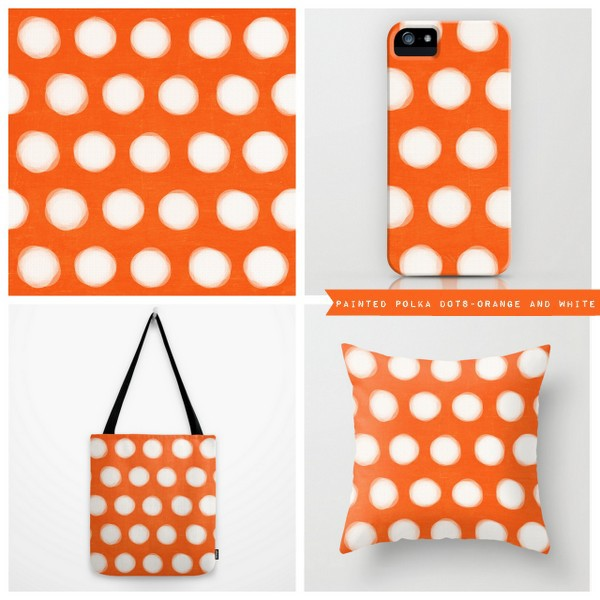 painted polka dots - orange and white
