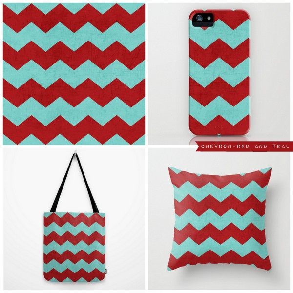 chevron - red and teal
