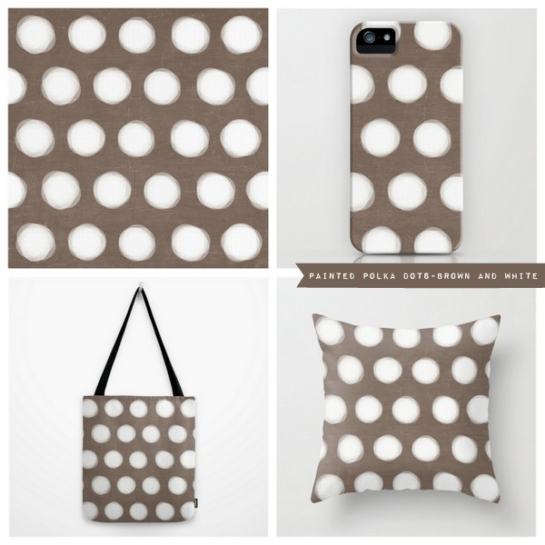 painted polka dots - brown and white