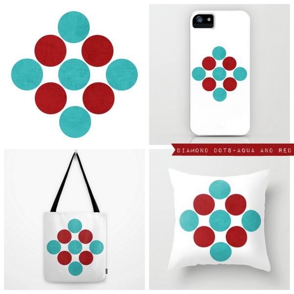 diamond dots - aqua and red