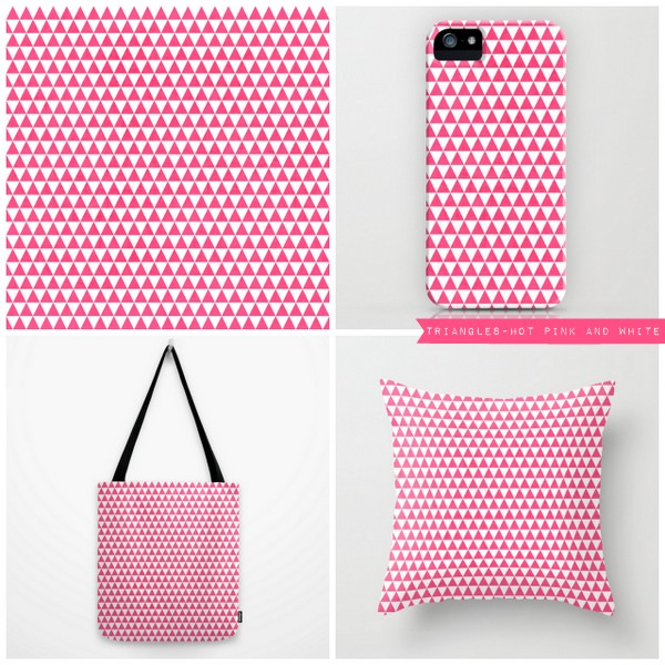 triangles - hot pink and white