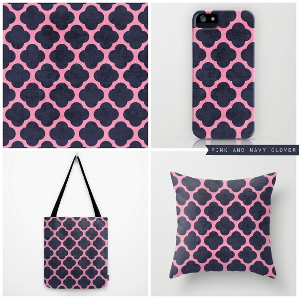 pink and navy clover