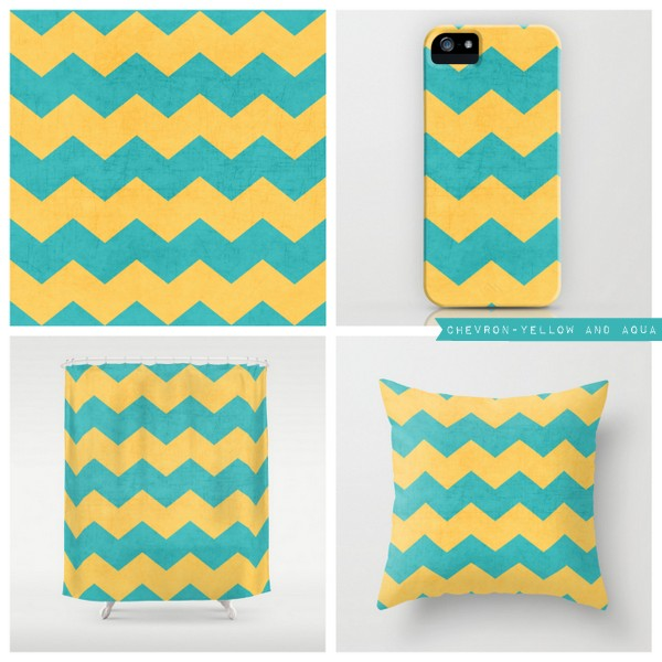 chevron - yellow and aqua