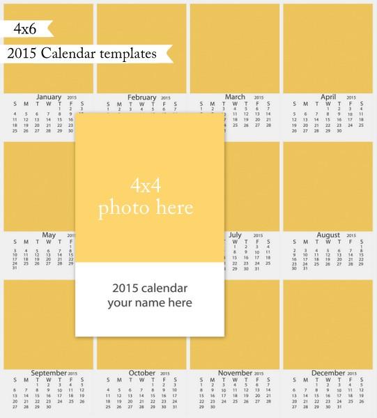 4x6 2015 Calendar template