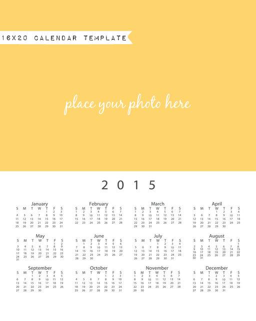 16x20 calendar template