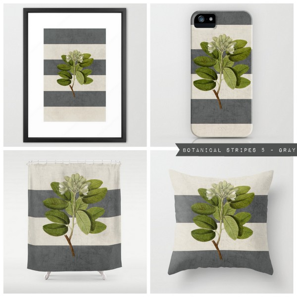 botanical stripes 5 - gray