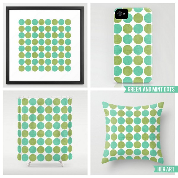 green and mint dots