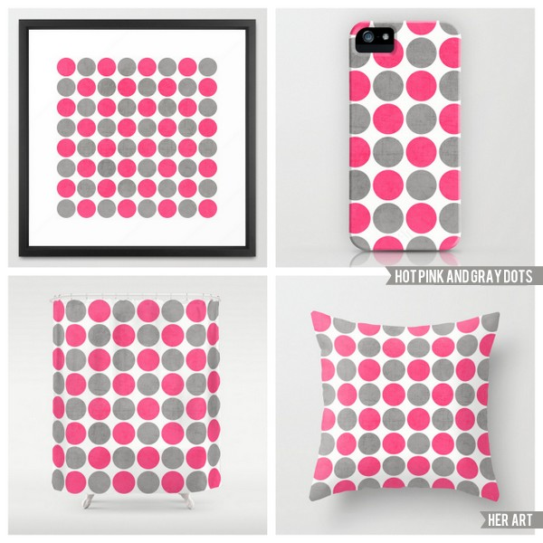 hot pink and gray dots