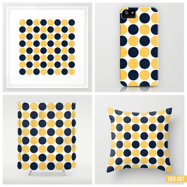 navy and yellow dots
