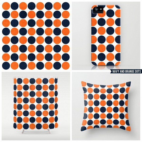 navy and orange dots