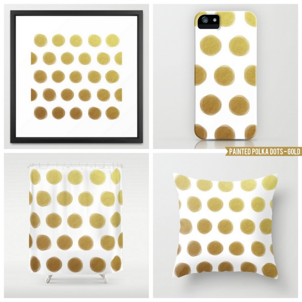 painted polka dots - gold