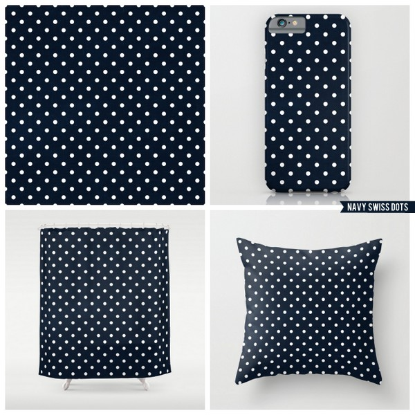 navy swiss dots