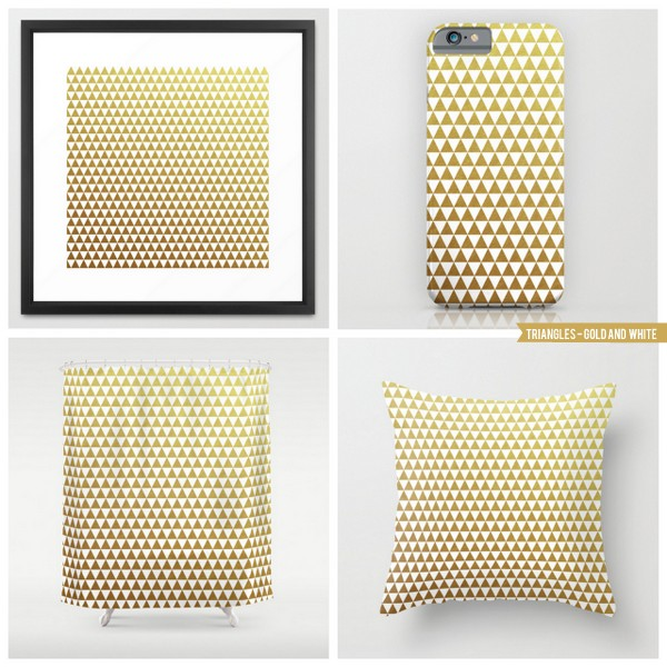 triangles - gold and white