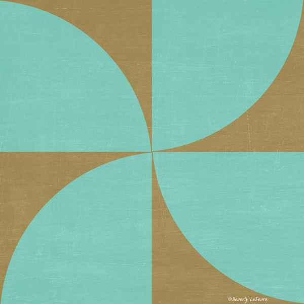 mod petals - teal and brown