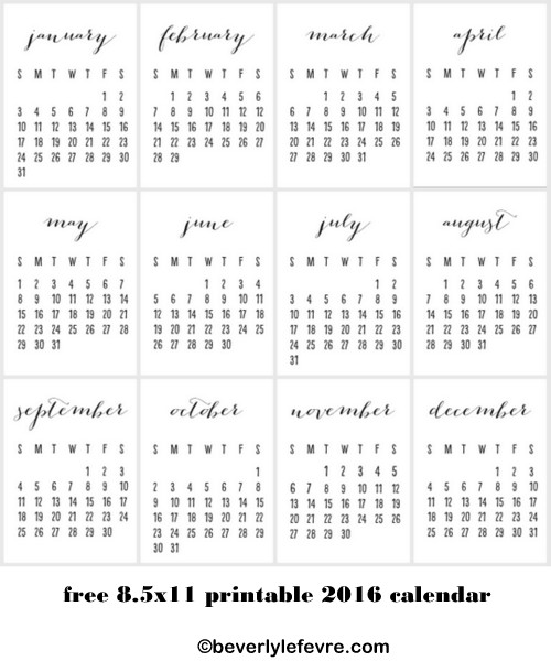 free 2016 printable calendar beverly lefevre