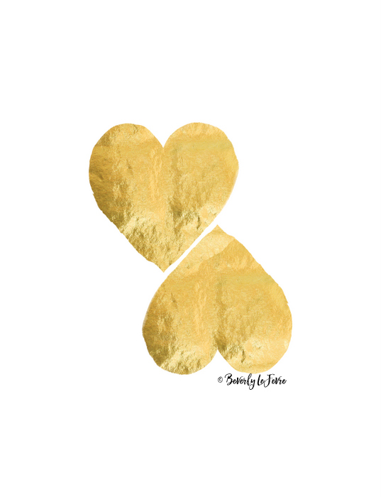 two hearts - gold