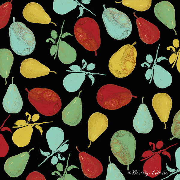 pears - black in art print by Beverly LeFevre