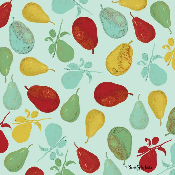 pears - teal art print