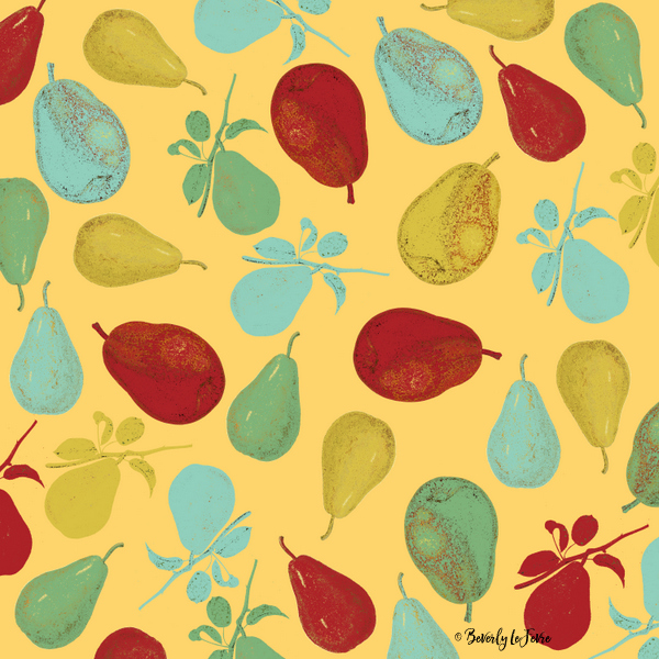 pears - yellow art print