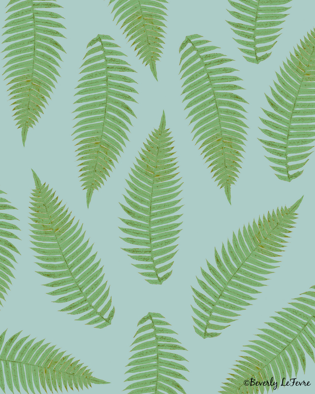 fern pattern - blue  art print