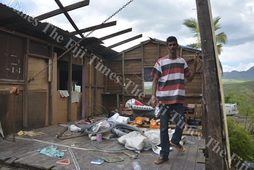 Hirdesh Nand at his damaged house in Nadelei, Tavua. Picture: BALJEET SINGH