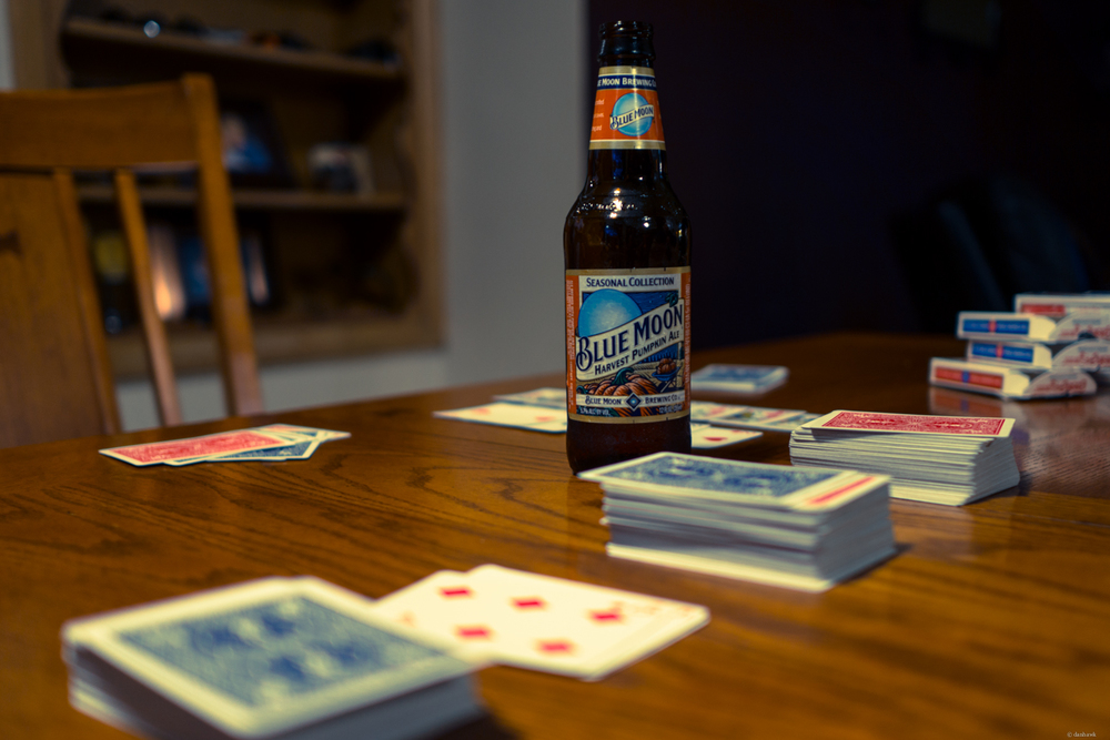 Beer and Cards | 365 Project | September 14th, 2013 | 24mm, f/1.8, ISO 100, 1/13